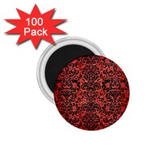 Damask2 Black Marble & Red Brushed Metal 1 75  Magnets (100 Pack)  by trendistuff