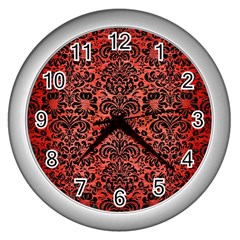 Damask2 Black Marble & Red Brushed Metal Wall Clocks (silver)  by trendistuff