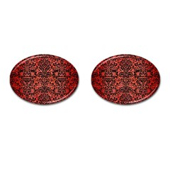 Damask2 Black Marble & Red Brushed Metal Cufflinks (oval) by trendistuff