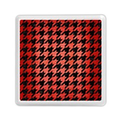 Houndstooth1 Black Marble & Red Brushed Metal Memory Card Reader (square)  by trendistuff