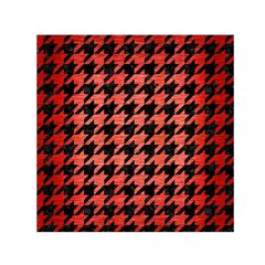 Houndstooth1 Black Marble & Red Brushed Metal Small Satin Scarf (square) by trendistuff