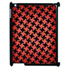 Houndstooth2 Black Marble & Red Brushed Metal Apple Ipad 2 Case (black) by trendistuff