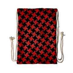 Houndstooth2 Black Marble & Red Brushed Metal Drawstring Bag (small) by trendistuff