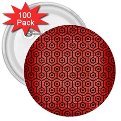 Hexagon1 Black Marble & Red Brushed Metal 3  Buttons (100 Pack)  by trendistuff