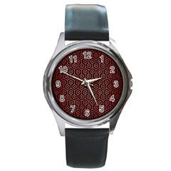Hexagon1 Black Marble & Red Brushed Metal (r) Round Metal Watch by trendistuff