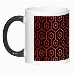 Hexagon1 Black Marble & Red Brushed Metal (r) Morph Mugs by trendistuff