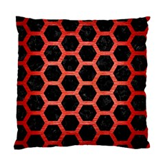 Hexagon2 Black Marble & Red Brushed Metal (r) Standard Cushion Case (two Sides) by trendistuff