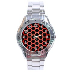 Hexagon2 Black Marble & Red Brushed Metal (r) Stainless Steel Analogue Watch by trendistuff