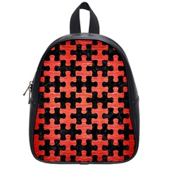 Puzzle1 Black Marble & Red Brushed Metal School Bag (small) by trendistuff