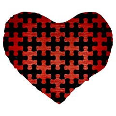 Puzzle1 Black Marble & Red Brushed Metal Large 19  Premium Flano Heart Shape Cushions by trendistuff