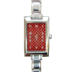 Scales2 Black Marble & Red Brushed Metal Rectangle Italian Charm Watch by trendistuff
