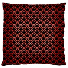 Scales2 Black Marble & Red Brushed Metal (r) Standard Flano Cushion Case (two Sides) by trendistuff