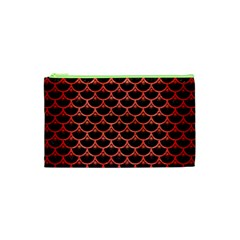 Scales3 Black Marble & Red Brushed Metal (r) Cosmetic Bag (xs) by trendistuff
