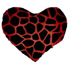 Skin1 Black Marble & Red Brushed Metal Large 19  Premium Flano Heart Shape Cushions by trendistuff