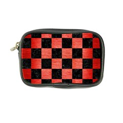 Square1 Black Marble & Red Brushed Metal Coin Purse by trendistuff