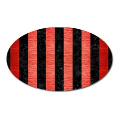 Stripes1 Black Marble & Red Brushed Metal Oval Magnet by trendistuff