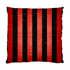 Stripes1 Black Marble & Red Brushed Metal Standard Cushion Case (two Sides) by trendistuff
