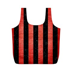 Stripes1 Black Marble & Red Brushed Metal Full Print Recycle Bags (m)