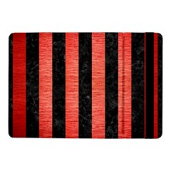 Stripes1 Black Marble & Red Brushed Metal Samsung Galaxy Tab Pro 10 1  Flip Case by trendistuff