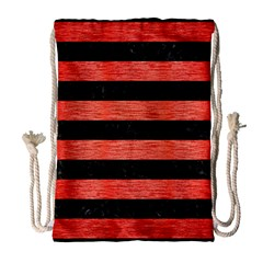 Stripes2 Black Marble & Red Brushed Metal Drawstring Bag (large) by trendistuff