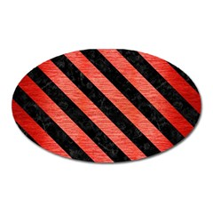 Stripes3 Black Marble & Red Brushed Metal Oval Magnet by trendistuff