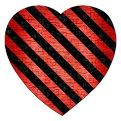 Stripes3 Black Marble & Red Brushed Metal Jigsaw Puzzle (heart) by trendistuff