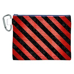 Stripes3 Black Marble & Red Brushed Metal Canvas Cosmetic Bag (xxl) by trendistuff