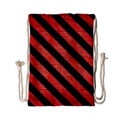 Stripes3 Black Marble & Red Brushed Metal Drawstring Bag (small) by trendistuff