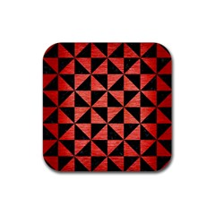 Triangle1 Black Marble & Red Brushed Metal Rubber Square Coaster (4 Pack)  by trendistuff