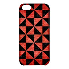 Triangle1 Black Marble & Red Brushed Metal Apple Iphone 5c Hardshell Case by trendistuff