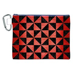 Triangle1 Black Marble & Red Brushed Metal Canvas Cosmetic Bag (xxl) by trendistuff