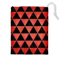Triangle3 Black Marble & Red Brushed Metal Drawstring Pouches (xxl) by trendistuff