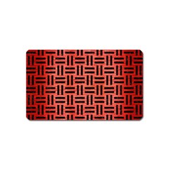Woven1 Black Marble & Red Brushed Metal Magnet (name Card) by trendistuff