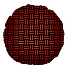 Woven1 Black Marble & Red Brushed Metal (r) Large 18  Premium Flano Round Cushions by trendistuff