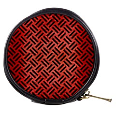 Woven2 Black Marble & Red Brushed Metal Mini Makeup Bags by trendistuff