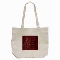 Woven2 Black Marble & Red Brushed Metal (r) Tote Bag (cream) by trendistuff