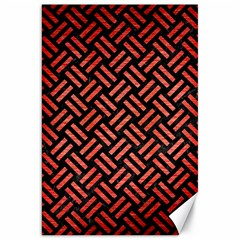 Woven2 Black Marble & Red Brushed Metal (r) Canvas 20  X 30   by trendistuff
