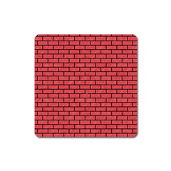 Brick1 Black Marble & Red Colored Pencil Square Magnet by trendistuff