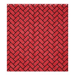 Brick2 Black Marble & Red Colored Pencil Shower Curtain 66  X 72  (large)  by trendistuff