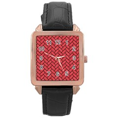Brick2 Black Marble & Red Colored Pencil Rose Gold Leather Watch  by trendistuff