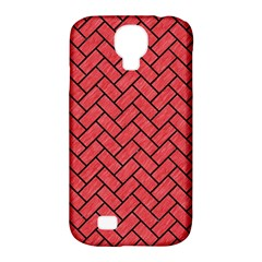 Brick2 Black Marble & Red Colored Pencil Samsung Galaxy S4 Classic Hardshell Case (pc+silicone) by trendistuff