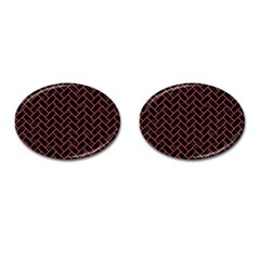 Brick2 Black Marble & Red Colored Pencil (r) Cufflinks (oval) by trendistuff