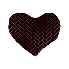 Brick2 Black Marble & Red Colored Pencil (r) Standard 16  Premium Heart Shape Cushions by trendistuff