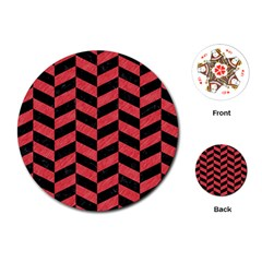 Chevron1 Black Marble & Red Colored Pencil Playing Cards (round)  by trendistuff