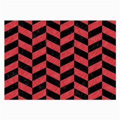 Chevron1 Black Marble & Red Colored Pencil Large Glasses Cloth by trendistuff