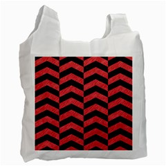 Chevron2 Black Marble & Red Colored Pencil Recycle Bag (two Side)  by trendistuff