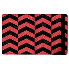 Chevron2 Black Marble & Red Colored Pencil Apple Ipad 2 Flip Case