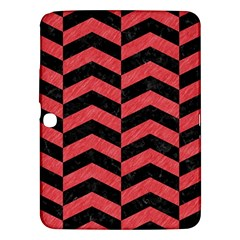Chevron2 Black Marble & Red Colored Pencil Samsung Galaxy Tab 3 (10 1 ) P5200 Hardshell Case  by trendistuff