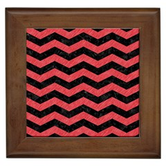 Chevron3 Black Marble & Red Colored Pencil Framed Tiles by trendistuff