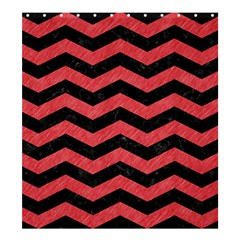 Chevron3 Black Marble & Red Colored Pencil Shower Curtain 66  X 72  (large)  by trendistuff